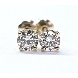Fine Round Cut NATURAL Diamond Stud Earrings Yellow Gold Screw Back .66CT