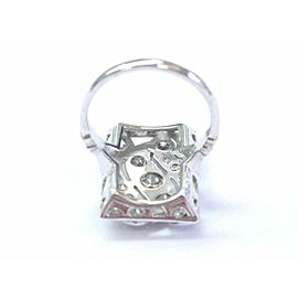18Kt Vintage Old European Cut Diamond White Gold Square Ring 1.82Ct