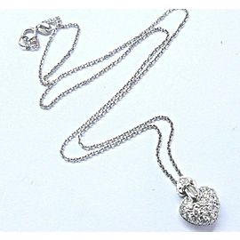 Fine Pave Multi Shape Diamond Heart White Gold Pendant Necklace .50Ct