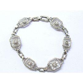 Vintage Quartz & Diamond White Gold Bracelet 14KT .40Ct