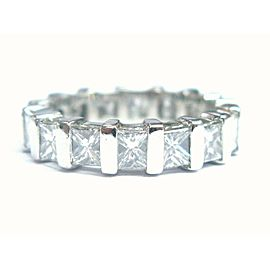 Platinum Princess Cut Diamond Eternity Band Ring 3.30CT Size 5