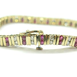 Ruby & Diamond Tennis Bracelet 14Kt Yellow Gold 4.24Ct 7""