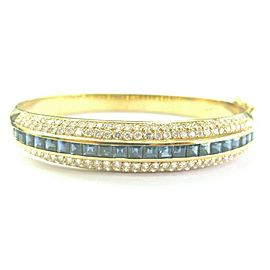 Blue Sapphire & Diamond Bangle Three Row 18Kt Yellow Gold 4.50Ct