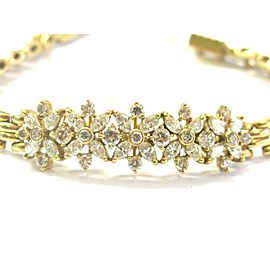 Marquise & Round Diamond ID Bracelet 18KT Yellow Gold 3.60Ct G-H/VS2 7.5""