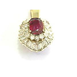 Natural Ruby & Diamond Ballerina Pendant 14Kt Yellow Gold 4.58Ct 1.5""