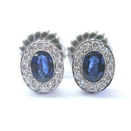 Ceylon Sapphire & Diamond Stud Earrings 1.44Ct 14KT White Gold