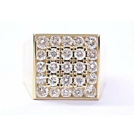 18Kt Men's Round Cut Diamond BIG SQUARE Yellow Gold Ring 2.75Ct