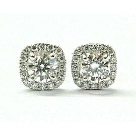 Round Diamond Halo Stud Earrings 18Kt White Gold 1.00Ct G-VVS1 SCREW BACK