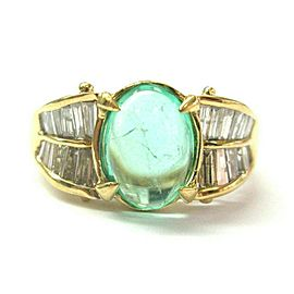 Green Emerald & Diamond Ring 18Kt Yellow Gold 4.50Ct SIZEABLE