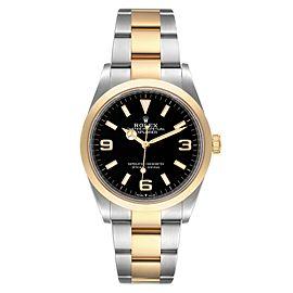Rolex Explorer I Steel Yellow Gold Black Dial Mens Watch 124273 Unworn