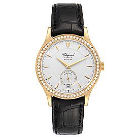 Chopard Classique Yellow Gold Silver Dial Diamond Mens Watch 1860