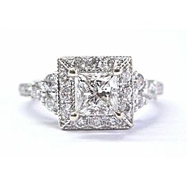 Neil Lane Princess & Round Cut Diamond White Gold Engagement Ring 1.27Ct H-SI1 1