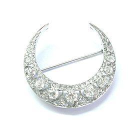 Platinum Vintage Horseshoe Old European & Rose Cut NATURAL Diamond Pin 3.35Ct