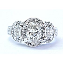 Greg Ruth 18Kt Three Stone Oval NATURAL Diamond White Gold Engagement Ring 2.22C