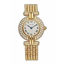 Cartier Colisee 1980 18k Yellow Gold Diamond Quartz Ladies watch Box & Papers