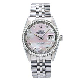 ROLEX DATEJUST 1603 36MM WHITE MOTHER OF PEARL DIAMOND DIAL WITH 1.10CT DIAMONDS