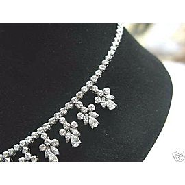 """Pear Shape & Round Diamond Dangling Riviera White Gold Necklace 18Kt 18.15Ct 16"""""""