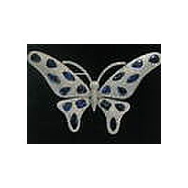 Butterfly Ceylon Sapphire & Diamond White Gold Pin / Brooch 54.38Ct E-F/VVS-VS