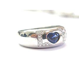 Chopard 18Kt NATURAL Gem Sapphire & Diamond Love White Gold Ring .99CT