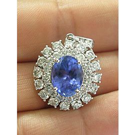 Natural Oval Tanzanite & Diamond Circular White Gold Pendant 7.86CT 14KT 1.25""