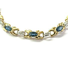 "Natural Ceylon Sapphire & Diamond Yellow Gold Tennis Bracelet 14Kt 7.25"" 7.52CT"