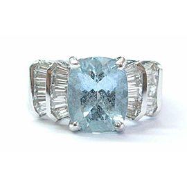 Fine Gem Aquamarine & Diamond White Gold Anniversary Jewelry Ring 4.85Ct