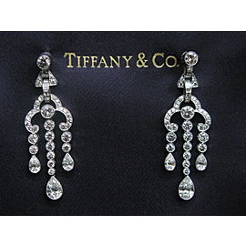 Tiffany & Co Platinum Legacy Multi Shape Diamond Triple Drop Earrings 3.90CT