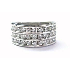 Fine Round Cut Diamond 4-Row Band Ring White Gold 1.65CT