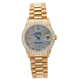 ROLEX DATEJUST YELLOWGOLD PRESIDENT 68278 31MM BLUE DIAMOND DIAL PRESIDENT BAND