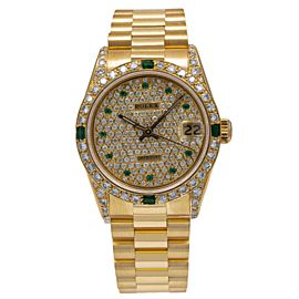 ROLEX DATEJUST PRESIDENT WATCH 68278 31MM YELLOW GOLD PAVE DIAMOND DIAL