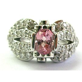Natural Morganite & Diamond White Gold Split Shank Ring 18Kt 3.80Ct SIZEABLE