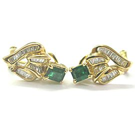Green Emerald & Diamond Huggie Earrings 18Kt Solid Yellow Gold 1.04Ct FVVS2 16MM