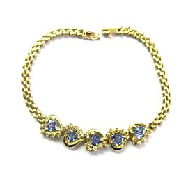 "Natural Heart Shape Tanzanite Diamond Yellow Gold 14Kt Bracelet 7"" 3.15Ct"