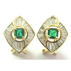 Green Emerald & Diamond Huggie Earrings 18Kt Solid Yellow Gold 1.80Ct FVVS2 15MM