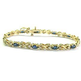 "Natural Ceylon Sapphire Diamond Yellow Gold Tennis Bracelet 14Kt 7"" 4.58CT"