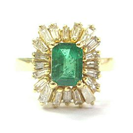 Colombian Green Emerald & Diamond Ring 14Kt Yellow Gold 2.30Ct SIZEABLE