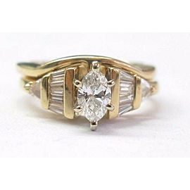 Fine Multi Shape Diamond Engagement Yellow Gold Wedding Set .95CT