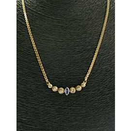 Tanzanite & Diamond Bezel Set Necklace 14Kt Yellow Gold .42Ct + .62Ct 17.5""
