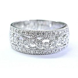 Natural Round Cut Diamond Milgrain WIDE Band Ring 14KT White Gold .65Ct