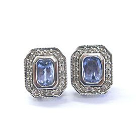 Tanzanite & Diamond Halo Stud Earrings 14KT White Gold 1.38Ct