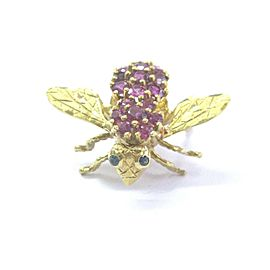 18Kt Gem Ruby Sapphire Yellow Gold Bee Pin/Brooch 4.10Ct 1""