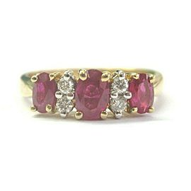 Ruby & Diamond Band 14Kt Yellow Gold 1.14Ct + .12Ct G-VS SIZEABLE