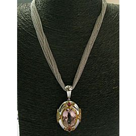 Morganite Pink Sapphire & Diamond Pendant Necklace 18Kt White Gold 22.88Ct 16""