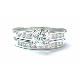Fine Round Cut Diamond Engagement Wedding Set White Gold 1.20Ct