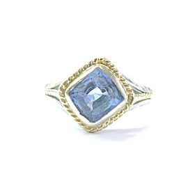 18Kt Gem Sapphire Cushion Cut 2-Tone Gold Solitaire Jewelry Ring 3.00Ct