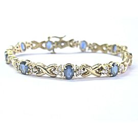 Fine Gem Blue Sapphire & Diamond Yellow Gold Tennis Bracelet 14KT 5.50Ct 6.25""