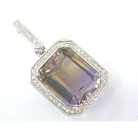 Fine Gem Ametrine Diamond BIG SQUARE White Gold Pendant 12.26CT