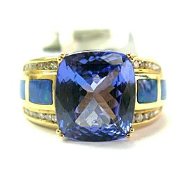 Natural Cushion AAAA Tanzanite & Diamond Opal Solid Yellow Gold Ring 6.08Ct 14KT