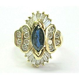 Blue Sapphire & Diamond Ring 14Kt Yellow Gold 2.10Ct