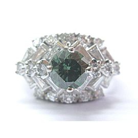 Platinum Irradiated Green Diamond Multi Shape Solitaire W Accent Ring 2.62Ct